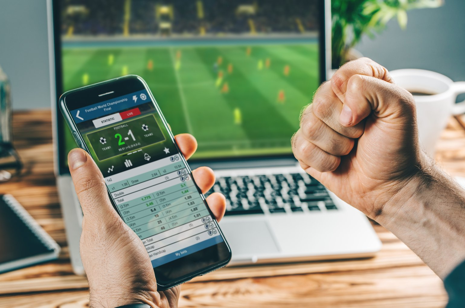 Man Watching Football Play Online Broadcast On His Laptop, Cheering For His Favourite Team, Making Bets At Bookmakers Website